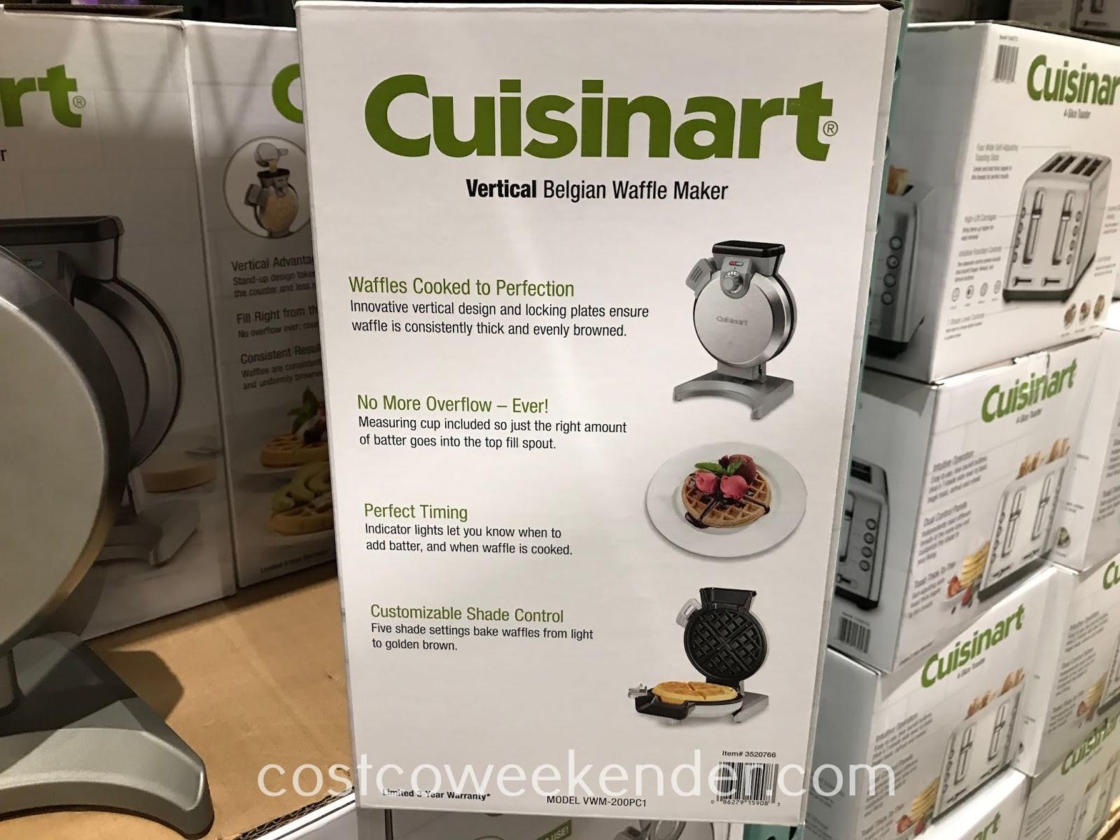 Cuisinart Vertical Belgian Waffle Maker features a space-saving design