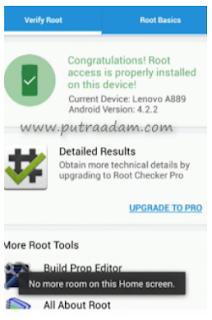 Sekarang tunggu proses Root nya berjalan sampai selesai Langkah terakhir silahkan download dan instal Aplikasi Root Checker di Playstore Dan cek apakah Root yang kalian lakukan sudah berhasil apa tidak dan jika berhasil maka akan muncul seperti ini.