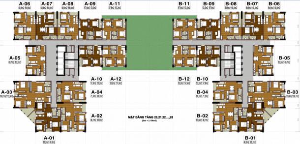 Thiết kế căn hộ tầng 20-28 tecco thanh trì