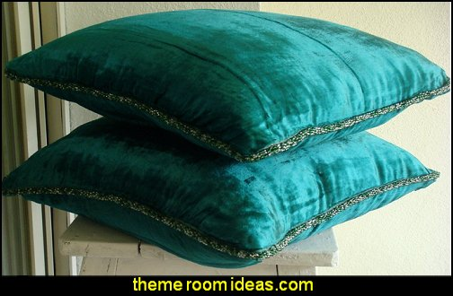 Royal Peacock Green Shimmer Velvet Pillow Cover with Bead Border