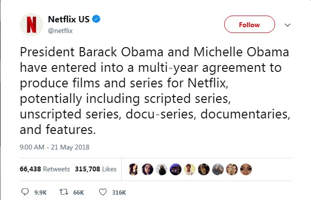 Barack and Michelle Obama to produce series for Netflix