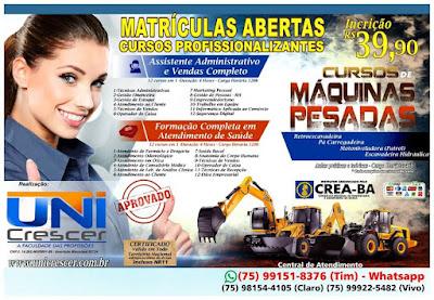 Matrículas abertas para cursos profissionalizantes, em Várzea da Roça e São José do Jacuípe