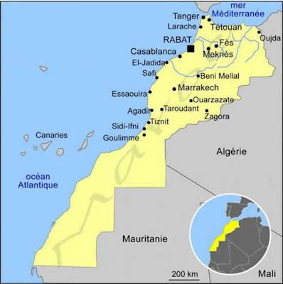 Marocko Karta Och Flagga