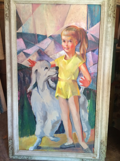 "Quirk painting ""cubism"" ""cubist art"" ""Quirk Painter""  girl with dog"
