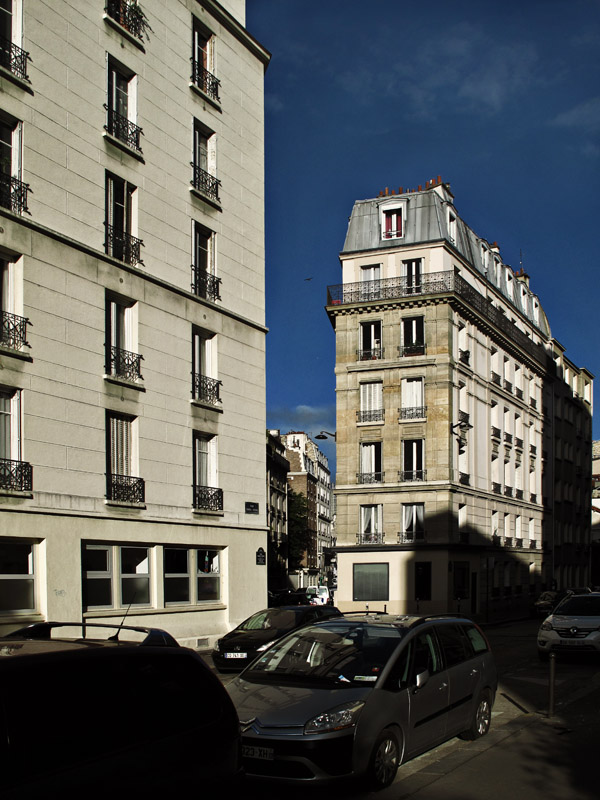 Apartment blocks and street in light and shadow, Dupleix, Paris. Photos by Kent Johnson for Street Fashion Sydney. Paris photos by Kent Johnson for Street Fashion Sydney.