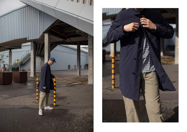 mat buckets wearing arket navy jacket, folk trousers and paul smith tee in glasgow
