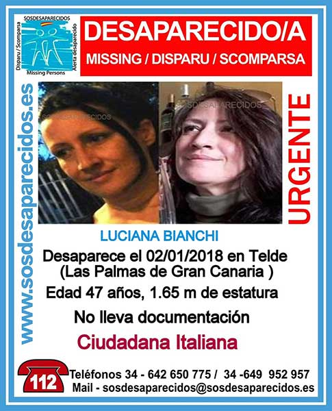 Luciana Bianchi, mujer italiana, desaparecida en Telde