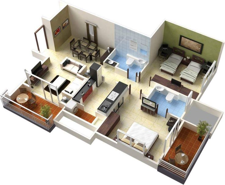 3D Interior Design For Furniture For Small Apartments