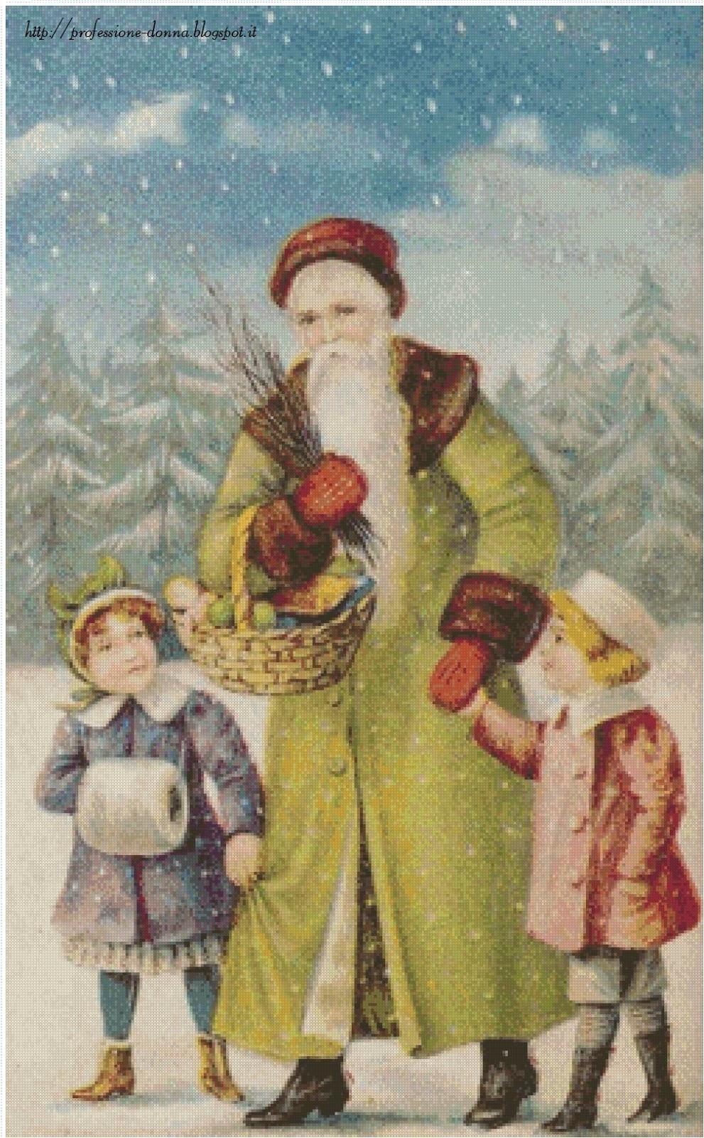 Babbo Natale Punto Croce Schemi Gratis.Professione Donna Schemi Gratis Per Il Punto Croce Cartoline Di