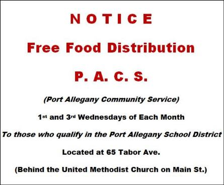 1st and 3rd wensday free food distribution