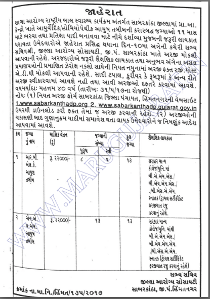 District Health Society, Sabarkantha Recruitment for