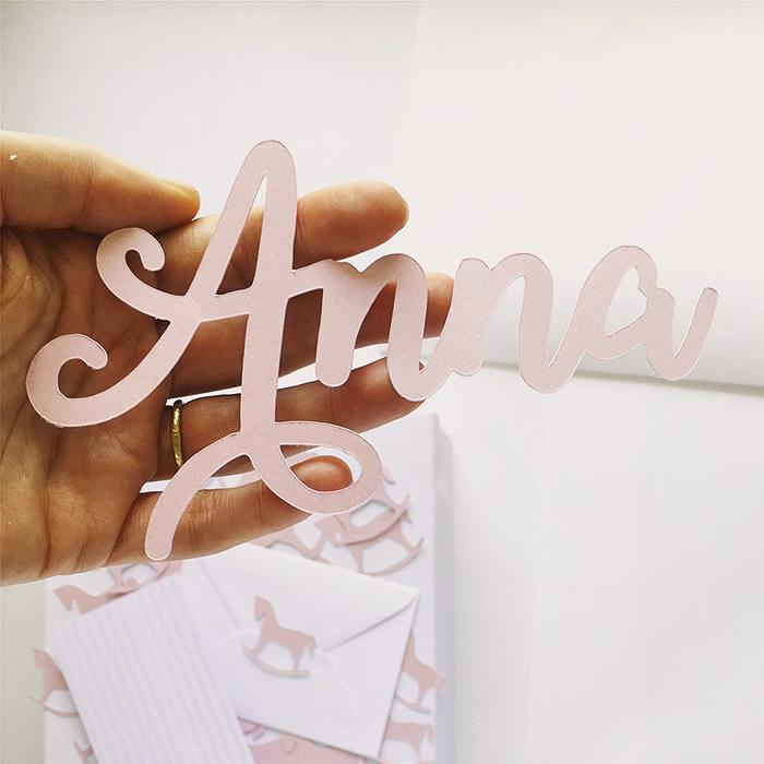 TOPPER torta sagomato in cartoncino perlato rosa chiaro