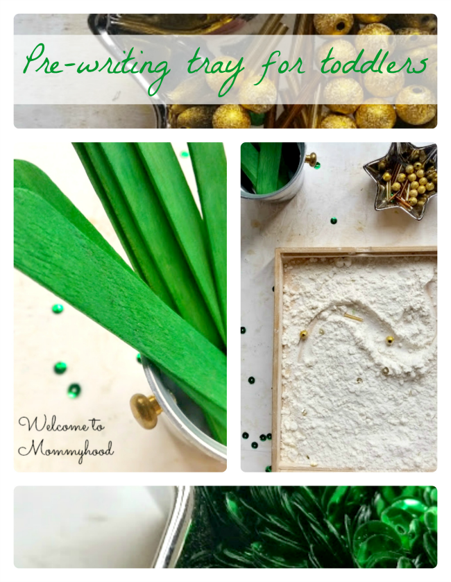 St Patricks Day Activities: prewriting tray for toddlers and preschoolers #montessori, #preschool, #montessoriactivities, #preschoolactivities