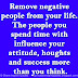 Remove negative people from your life. The people you spend time with influence your attitude, thoughts and success more than you think.