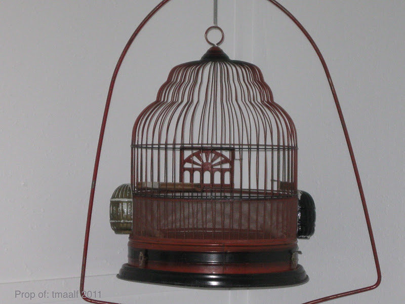 two men and a little farm vintage bird cage with stand. Black Bedroom Furniture Sets. Home Design Ideas
