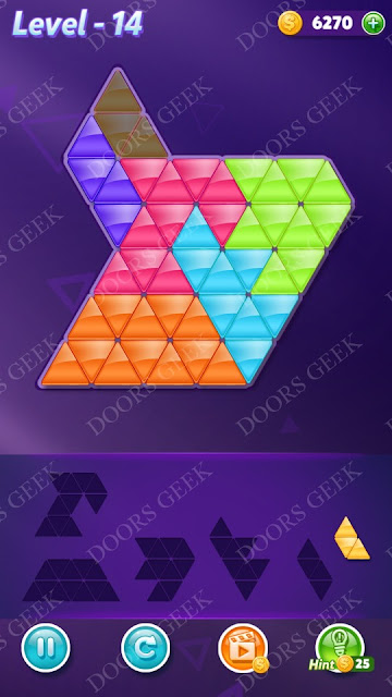 Block! Triangle Puzzle Intermediate Level 14 Solution, Cheats, Walkthrough for Android, iPhone, iPad and iPod