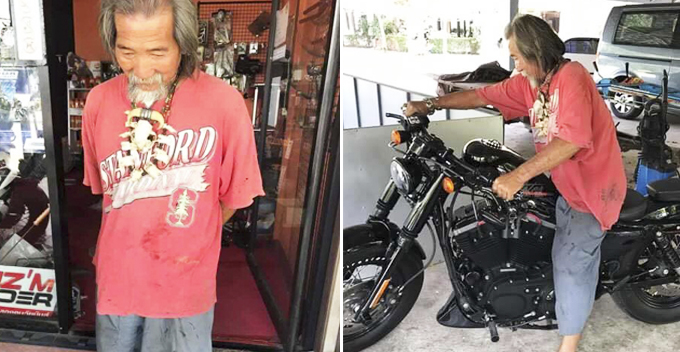 Old man in raggedy clothes surprises everyone after buying Harley Davidson