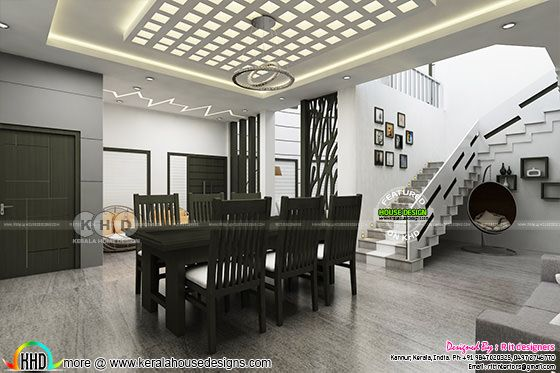 Black and white interior design in Kerala