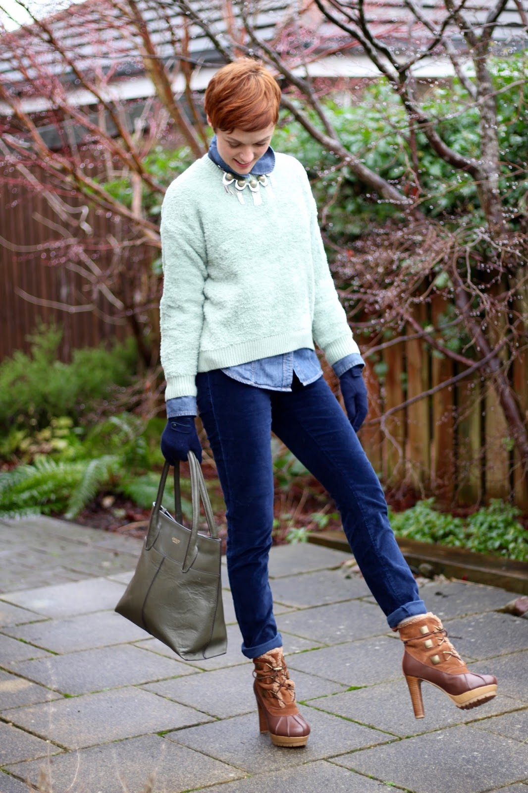 Fake Fabulous | Sage fluffy jumper and navy velvet trousers.