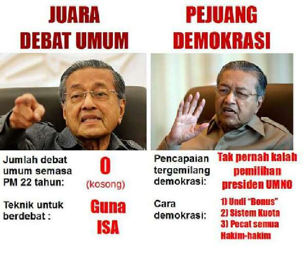 Diktator Mahathir Mana Pernah Berdebat