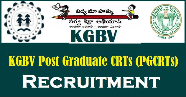 CRTs, Kasturba Gandhi Balika Vidyalaya Recruitment, KGBV, KGBV PGCRTs Posts, KGBV Post Graduate CRTs, Sarva Shikshs Abhiyan, TS Jobs, TS KGBV, TS SSA, TSSA Recruitment