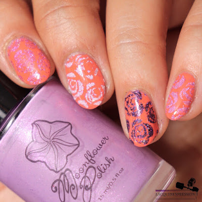 pigment and glitter stamping nail art technique using violet microglitter from Moonflower Polish