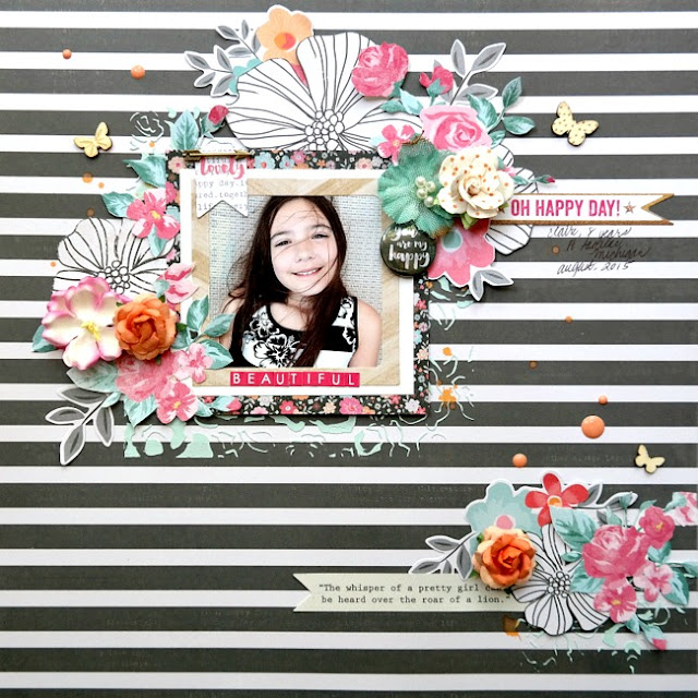 Mixed Media Scrapbook Layout with Stripes and Flowers