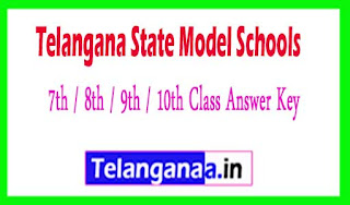 TS Model School 7th / 8th / 9th / 10th Class Answer Key 2017