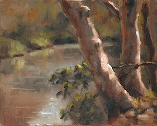 Oil painting of eucalypt trunks beside a river.