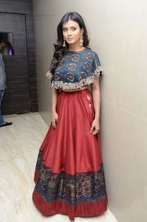 Hebah Patel in a Long Red Skirt and Blue Blouse at edo rakam ado rakam movie event
