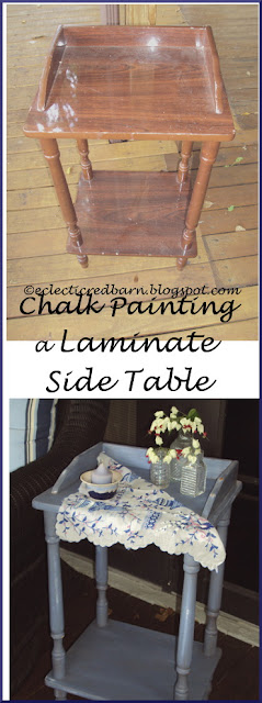 Eclectic Red Barn: Painting a Laminate Side Table