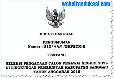 Pengumuman Pendaftaran CPNS 2018 Kabupaten Sanggau