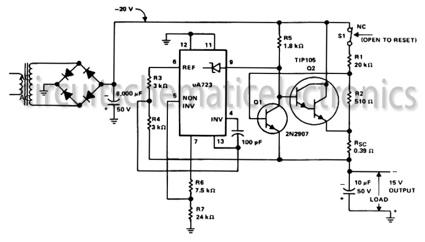 -15 Volt output regulated power supply circuit