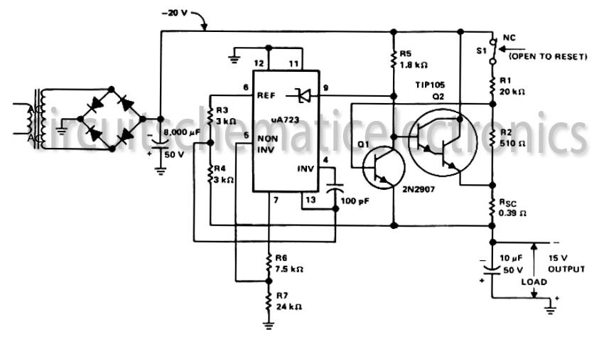 15 volt output regulated power supply circuit