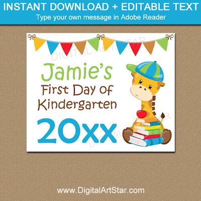 printable first day of kindergarten sign template with giraffe