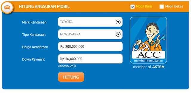 Menghitung Simulasi Kredit Mobil Toyota Avanza