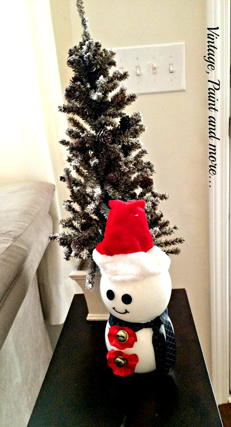 Vintage, Paint and more... simple snowman craft made by painting Dollar Tree votive holders