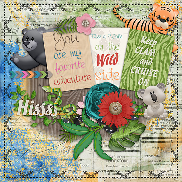 Safari Adventure Digital Scrapbooking Kit +Safari adventure Quck Page freebie