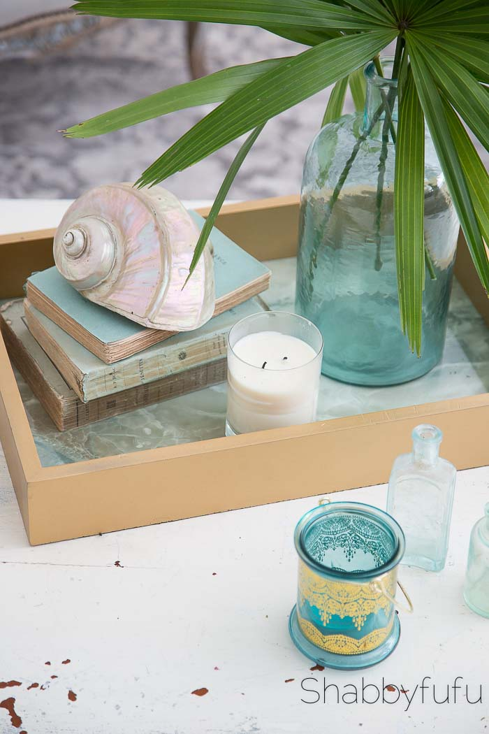 coastal coffee table styling