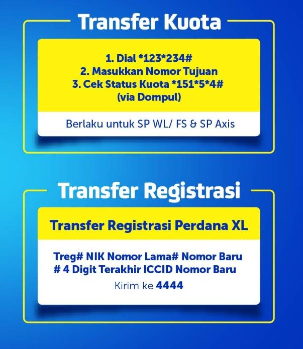 Cara Transfer Kuota Dan Registrasi Xl Axis Blog Maxsi Id