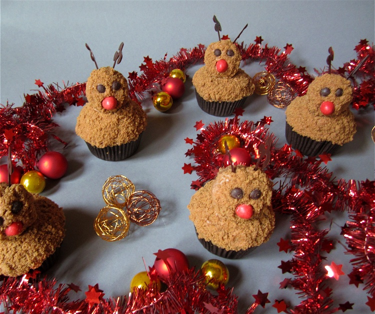 Rudolph the red-nosed-reindeer Cupcakes - Rentier-Cupcakes