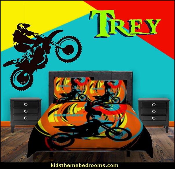 motocross dirt bike bedding  Motocross bedroom ideas - Dirt bike room decor - Dirt bike wall art -  Motocross bedding  - flame theme decorating ideas - dirt bike room stuff - dirt bike themed rooms - motocross room decor - Dirt Bike themed bedrooms - motorcycles - BMX Off road bike - Motosport - Extreme sports bedrooms