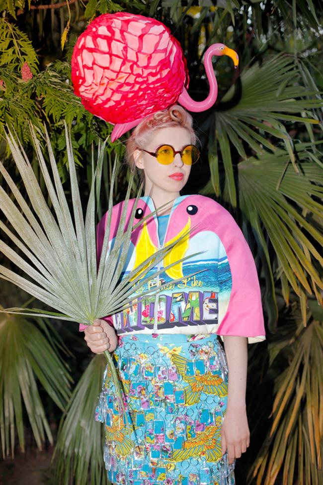 Ciara Monohan, flamingo cape, flamingo headpiece