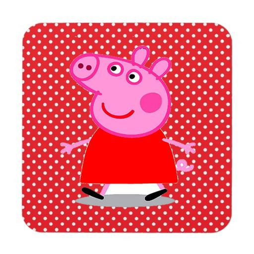 Etiquetas de Peppa Pig en Fondo Rojo con Lunares Blancos para imprimir gratis.