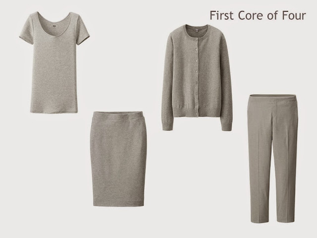 Core of Four garments in grey: tee shirt, cardigan, skirt and ankle pants