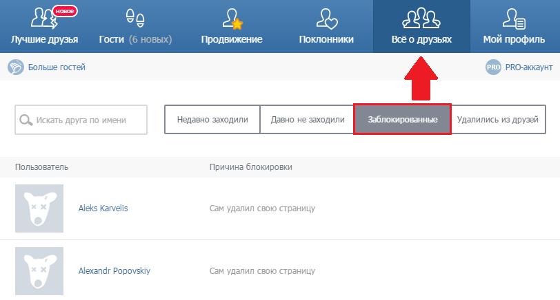 Заблокированные друзья В Контакте