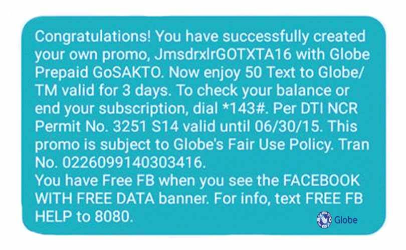 Globe GOTXTA16 – 3 Days Free Facebook + Text Promo only 15