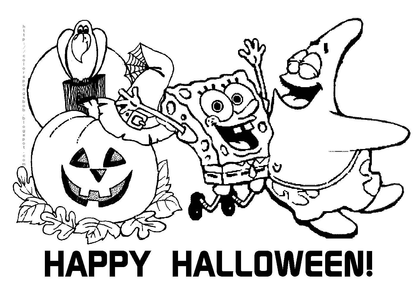 coloring pages spongebob halloween full | SPONGEBOB COLORING PAGES