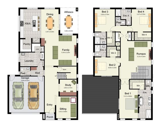 Duplex small house floor plans with 3 or 4 bedrooms for 3 bedroom ensuite house plans
