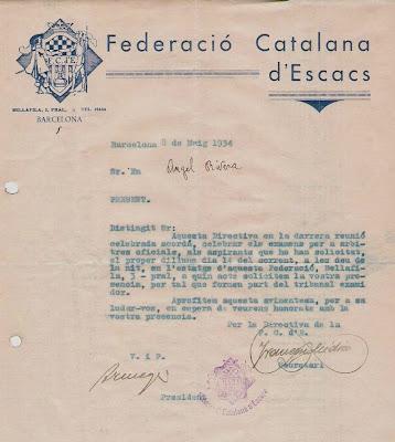 Carta de la Federació Catalana a Ribera en 1934